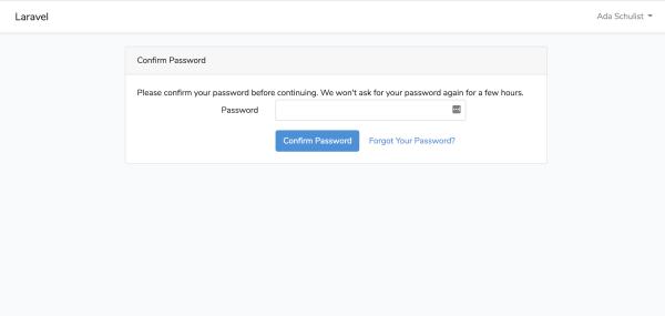 تأیید مجدد رمز عبور کاربران در لاراول ۶.۲